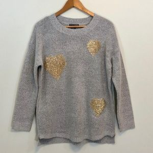 Chelsea & Theodore Gray with Gold Hearts Sweater